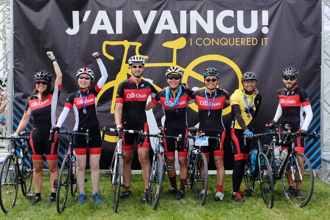 Chit Chats team crossing ride to conquer cancer finish line
